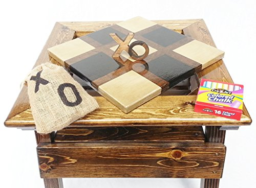 Kids Tic Tac Toe and Chalkboard, 2-sided game board, Solid Wooden Game and Activity Table, Children's Furniture, Toddler Boy or Girl by Happy Chairs and More (Image #9)