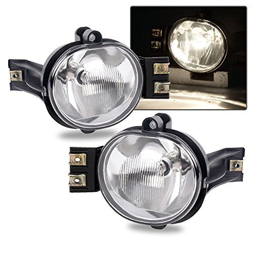 Fit For 02-08 Dodge Ram 1500/03-09 Dodge ram 2500 ram 3500/04-06 Dodge Durango OE Clear Fog Lights Pair+Bulb Driver and Passenger Side Driving - Plastic Lights Housing Driving