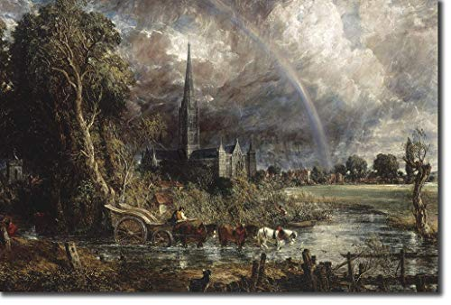 John Constable - Salisbury Cathedral from the Meadows (1831) - Classic Painting Photo Poster Print Art Gift - RA Suffolk Landscape Painter Country - Size: 18 x 12 Inches (45 x 30 cm)
