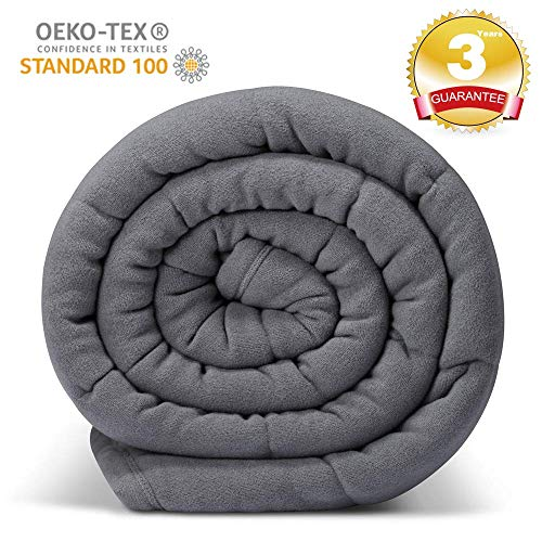 Cheap Ultra Plush Fleece Grey Weighted Blanket 1 Piece Construction Minky Warm Luxury Heavy Blanket 20 lbs for Adults About 180-220 lbs 60 x80 for Full Queen King Bed Black Friday & Cyber Monday 2019