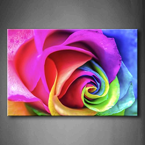 First Wall Art - Purple Beautiful Rainbow Rose Close Up Wall Art Painting The Picture Print On Canvas Flower Pictures For Home Decor Decoration Gift (Stretched By Wooden Frame,Ready To Hang)