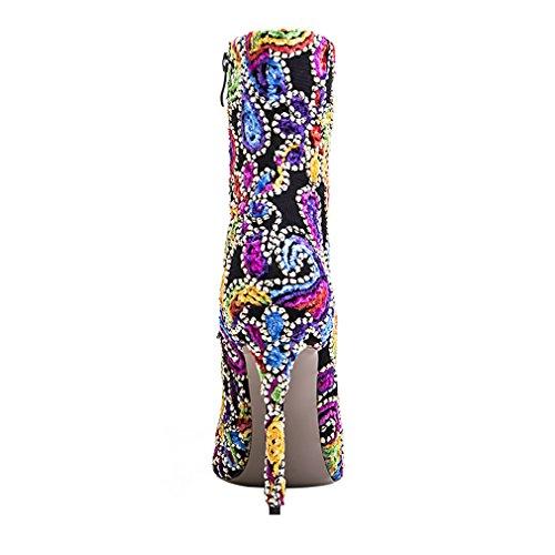 ENMAYER Frauen Sexy High Heels Pumps Stilett Spitz Zeh Reißverschluss Western Style Party Kleid Schuhe Rojo