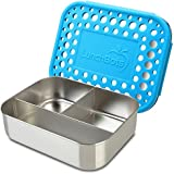 LunchBots Trio Stainless Steel Snack Container, 3 Section, Stainless Steel Lid, Aqua Dots Cover, Dishwasher Safe