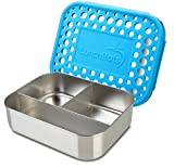 LunchBots Trio Stainless Steel Food Container - Three Section Design Perfect for Healthy Snacks, Sides, or Finger Foods On the Go - Eco-Friendly, Dishwasher Safe and BPA-Free - Aqua Dots