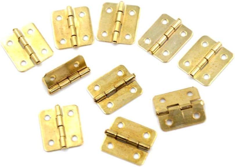 Ltong 10Pcs Bisagras para Puertas de gabinetes de Cocina Accesorios para Muebles 4 Agujeros Bisagras de cajón de Oro para joyeros Herrajes para Muebles