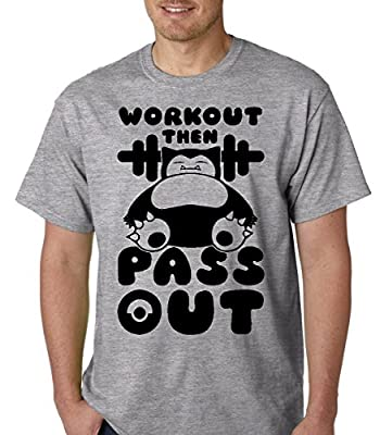 Raw T-Shirt's Workout Then Pass Out - Funny Snorlax Men's T-Shirt
