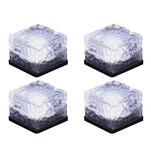 Horing Solar Glass Brick Light - Solar Ice Cube LED Light - Crystal Brick Stone Lamp Garden Courtyard Pathway Patio Pool, Decorative Christmas Festives Ice Rock Cube Lights (4PCS White) (Pavers Patio Round)