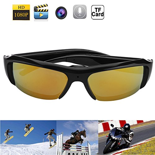 1080P HD Fashion Sunglasses Spy Camera Hidden Camcorder Cam DV DVR Video Recorder + Free 8GB SD TF - Hd Sunglasses Camera