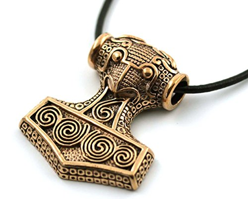 LynnAround Bronze Viking Raven Crow Odin Axehead Thors Hammer Mjolnir Pendant Necklace Norse Jewelry Leather Cord