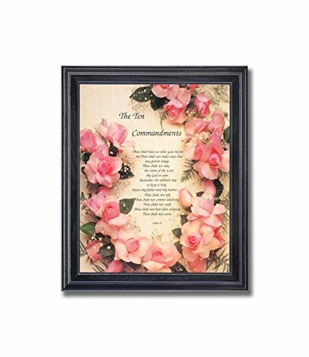 Photo Commandments Ten - Ten Commandments Roses Religious Wall Picture Framed Art Print