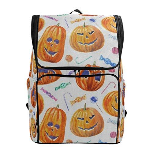 Laptop Backpack Halloween Pumpkin Lollipop Candy College Backpack for Women Big Casual Fashion Bag