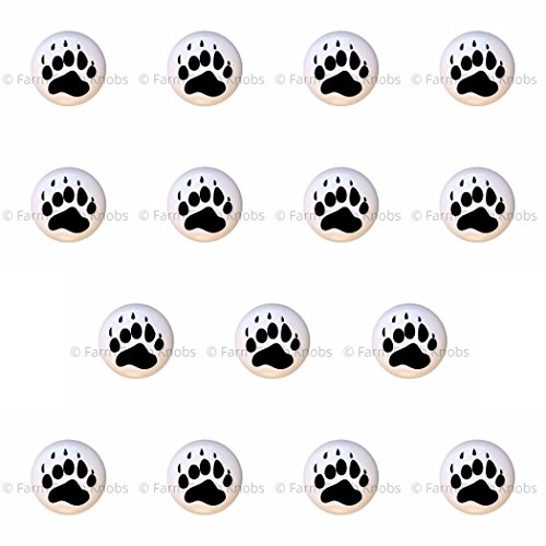 SET OF 15 KNOBS - Bear Paw Print Prints - Bears - DECORATIVE Glossy CERAMIC Cupboard Cabinet PULLS Dresser Drawer KNOBS