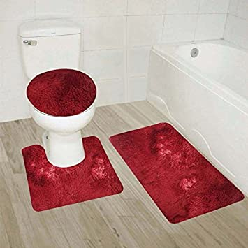 Strange Mk Home Collection 3Pc Shaggy Super Soft Solid Burgundy Bathroom Rug Set Including Bath Mat Contour Rug And Toilet Lid Cover New Theyellowbook Wood Chair Design Ideas Theyellowbookinfo