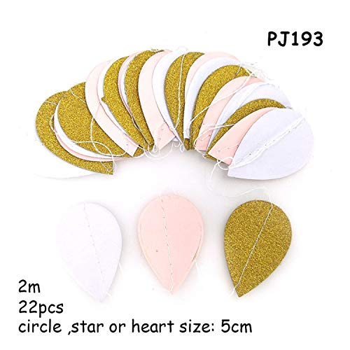 3D Gold Pink Heart Crown Paper Garland Princess Happy Birthday Bunting Balloon Tail Baby Girl'S Shower Decorations Paper Garland,PJ193 paper garland,2m ()