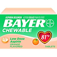 Bayer Aspirin Chewable Low Dose 81mg 108 Tablets (Orange Flavor)