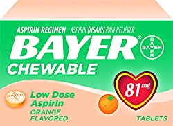 Bayer Low Dose Chewable Aspirin, Orange, 108 Count