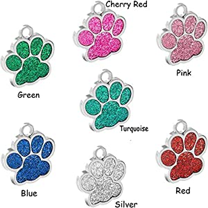 "Vcalabashor Pet ID Tags for Small Dog & Cat by trade;/Glitter Eye-Catch Pet Tag/Customized Dog Tag/Bling Personalized Engraved Pet ID Tags/Blue/Pink/Silver/Red/Cherry Red/1.0"" x 1.0"""