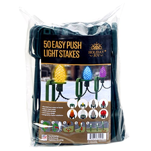 Holiday Joy - 50 Easy Push Deluxe Light Lawn Stakes for Holiday String Lights on Yards, Driveways & Pathways - 10 Tall - New and Improved Model (50 Deluxe)