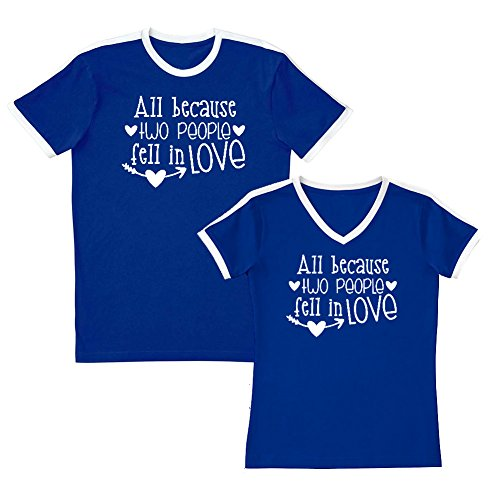 Person Ringer T-shirt (We Match! All Because Two People Fell In Love - Matching Couples Soccer Ringer T-Shirt Set (Ladies 2XL, Mens Medium, Royal, White Print))