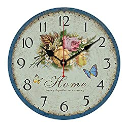 Kaimao 14 Inches Vintage Wooden Wall Clock Chic Shabby and No Tick Feature Perfect for Kitchen Living Room Office