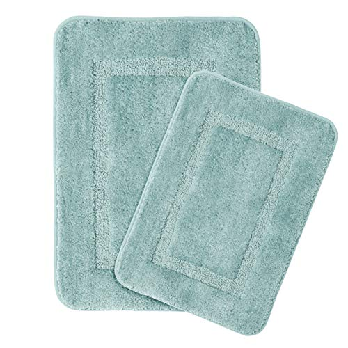 Mat Floor Rug Tufted (Luxurious Bath Rug Set Super Soft Tufted Thick Bathroom Rug Set 20 x 32/17 x 24 Machine Washable Bath Rugs Set for Bathroom/Kitchen Dry Fast Water Absorbent, Eggshell Blue)