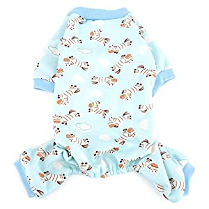 Ranphy Zebra Print Small Dog Cat Fleece Pajamas Cozy Pet Pjs Soft Dog Outfits Chihuahua Clothes Puppy Jumpsuit Blue M