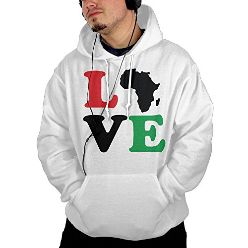 Men's Love Africa Pullover Hooded Sweatshirt by Mars Sight Sweatshirt