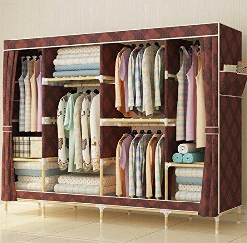 GL&G Wardrobe Closet Solid wood Oxford cloth Free Standing Storage Organizer – Home finishing decoration Portable, Detachable, Modern economy Lightweight Clothing Closet,A,78''67'' by GAOLIGUO