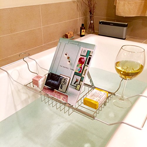 European Style Rustproof Metal Extendable Bathtub Caddy w/ 2 Wineglass Holders, Book Stand & Candleholder