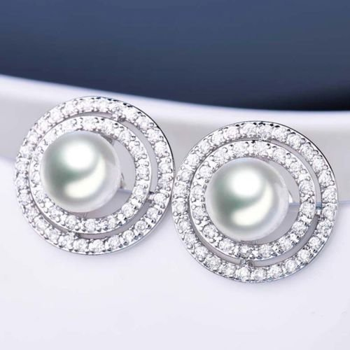 TM Gozebra Luxurious Round Pearl Topaz Crystal White Gold Filled Stud Earrings For Women