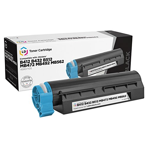 LD © Compatible Okidata 45807105 Black Laser Toner Cartridge for use in MB472w, MB492, MB562w, B412dn, B432dn & B512dn Printers (7,000 Page Yield)