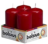 Bolsius Pillar Candles Wine Red, Pack of 4 Aprox 2x4 Inch