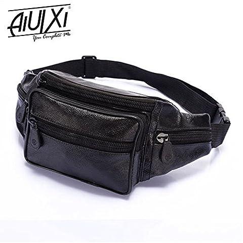 AiUIXi1991-Men's Leather Waist Eco-Friendly Bum Adjustable Bag Pouch Travel Hip Purse - BLACK - Morris Care Bear Costume