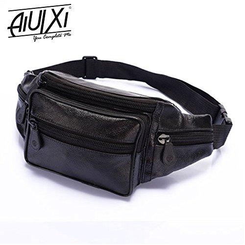 [AiUIXi1991-Men's Leather Waist Eco-Friendly Bum Adjustable Bag Pouch Travel Hip Purse - BLACK] (Bum Shorts Costume)
