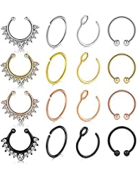Fake Nose Rings Hoop 12-16pcs Stainless Steel Faux Fake Lip Ear Nose Septum Ring Non-Pierced Clip On Nose Hoop Rings