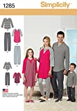 SIMPLICITY US1285A Family Loungewear Sewing Template