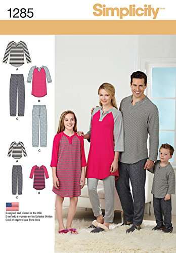 Simplicity US1285A Family Men's, Women's, and Children's Matching Pajama Sewing Patterns, Sizes XS-L and XS-XL