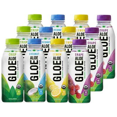 - ALOE GLOE Organic Aloe Water, 15.2 Ounce (Variety Pack, Pack of 12)