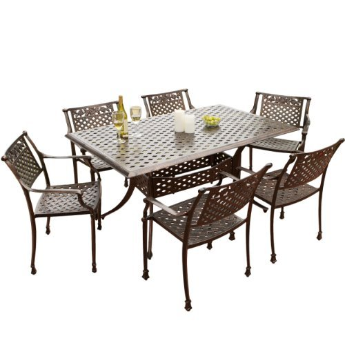 Great Deal Furniture 238225 Sierra Patio Furniture ~ 7-Piece Cast Aluminum Outdoor Dining Set, Brown