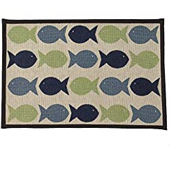 PetRageous Kool Fishies Tapestry Mat Feeder, 13 x 19/Small