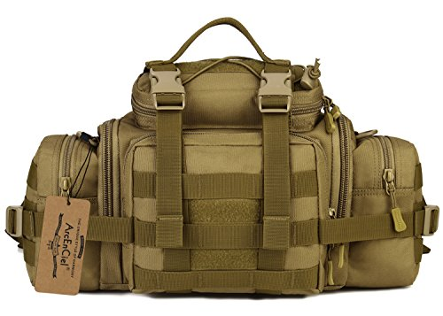 (ArcEnCiel Mens Fanny Pack Military Duffle Molle Tactical Cargo Gear Shoulder Bag (Coyote Brown))