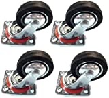 4 Pack - 4'' Swivel Caster Wheels Rubber Base with Top Plate & Bearing Heavy Duty
