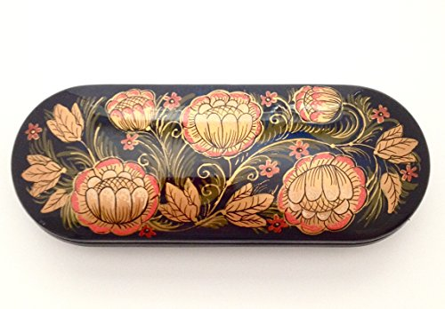 Russian hand painted Eyeglass Case Lacquer Box Khohloma style