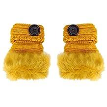 Franterd Women Winter Warm Faux Rabbit Fur Wrist Fingerless Gloves