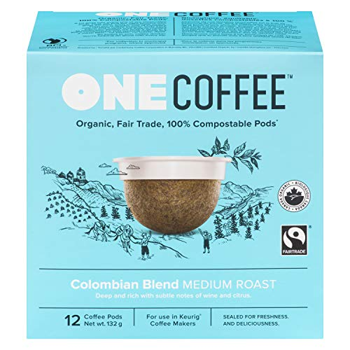 OneCoffee Organic Colombian Blend 72 Count Single Serve Coffee 100% Compostable K Cup for Keurig Machines