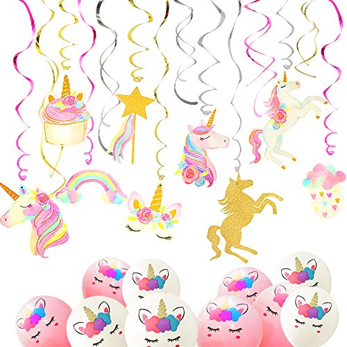 Ginkago 40 PCS Unicorn Party Supplies Decoration 30 Hanging Swirls & 10 Unicorn Balloons for Kids Unicorn Theme Birthday Party Favors Girls Gift
