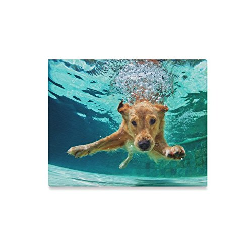 (InterestPrint Funny Labrador Retriever Puppy Dog Underwater Canvas Prints Painting Wall Art Wooden Frame Artwork for Home Decoration Wall Decor, 20 x 16)