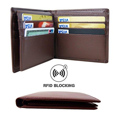Aonal RFID Blocking Leather Bifold Wallet for Men, Crosshatch Coffee