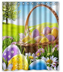 Standard-Store Custom Fashionable Design Happy Easter 16 Waterproof Fabric Polyester Shower Curtain