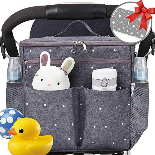 Parents Stroller Organizer Travel Bag with Shoulder Strap Insulated Bottle Holder Lightweight Design Storage Pockets for Bottles,Diapers,Toys,Saliva Towel-Fits All Baby Stroller Models (White Dots)